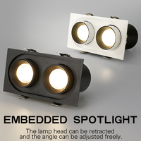 Embedded spotlight tweekoppige 24W LED Cob Cree spotlight hoge CRI RA> 93 business hotel techniek indoor verlichting-in LED Spot verlichting van Licht & verlichting op