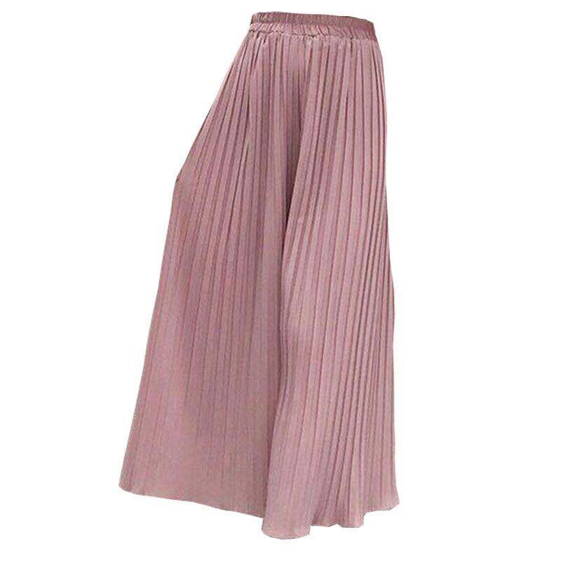 High Waist Chiffon Flare Pants Female Plus Size Casual Ladies Culottes Trousers Women Pant Pleated Wide Leg Pantalones