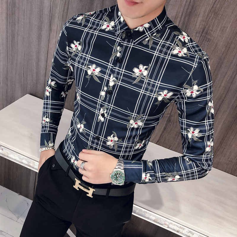 4d0ea1fc920b ... Quality Korean Men Shirt Fashion 2019 Autumn Tuxedo New Slim Fit Print  Shirts Dress Mens Long ...
