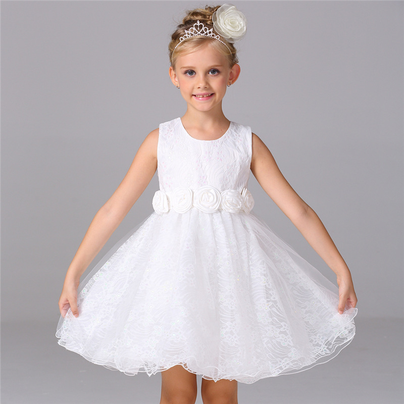 White Dresses For Girls 2017 Brand Tulle Lace Infant