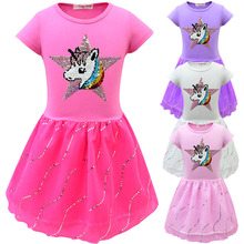 2020 Baby Girls Unicorn Party Dresses Kids Squined Star Tutu Dress Girl Princess Children Birthday Halloween Unicorn Costume glittery unicorn princess pageant flower girl tutu dress kids party costume with headband and wings halloween cosplay girl dress