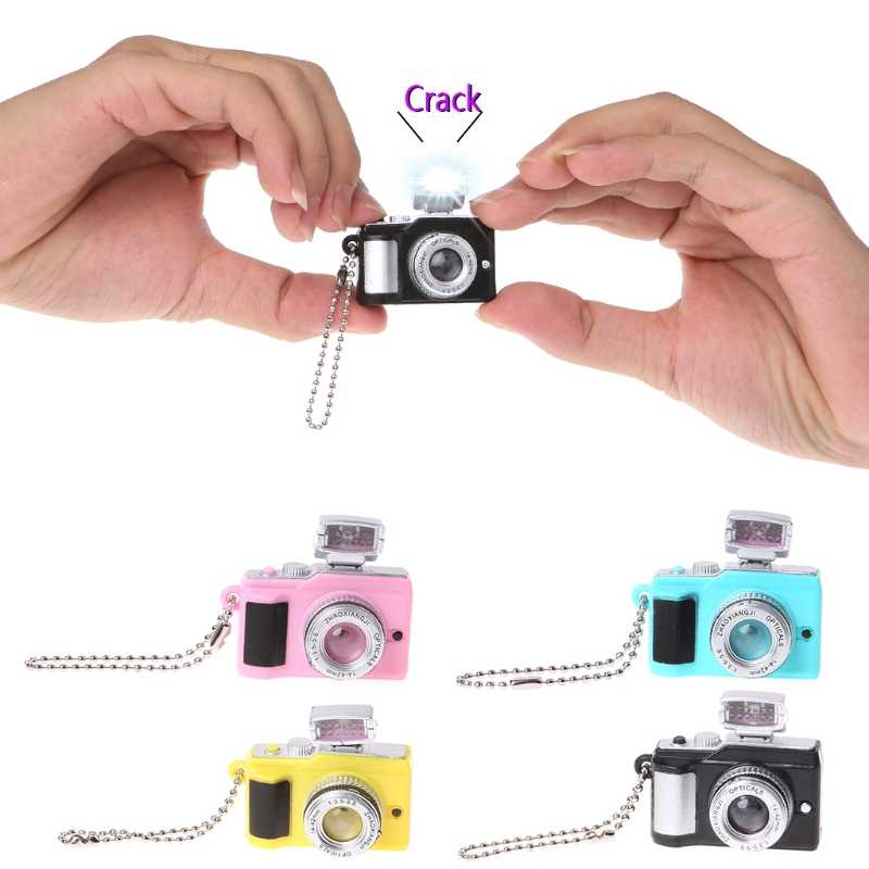 HBB Creative Camera Toy Led Keychains With Sound LED Flashlight Key Chain Funny Toy NEW