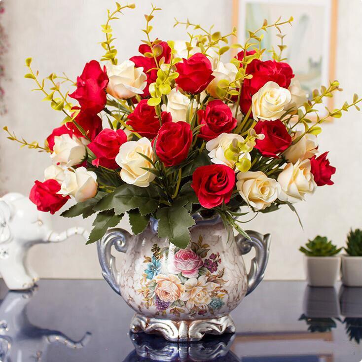 European Resin Vase+Simulation Dried Flower Set Figurines Crafts Home Livingroom Office Desktop Fake Flower Pot Ornaments Decor