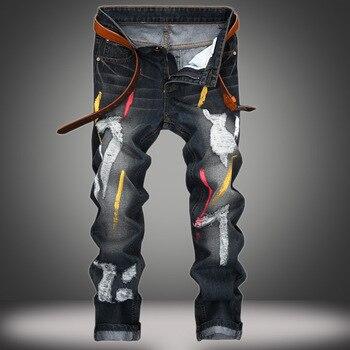 Новинка 2020, мужские джинсы с принтом, с дырками, индивидуальность, ностальгия, тонкие потрепанные черные джинсы, мужские хлопковые прямые дж...
