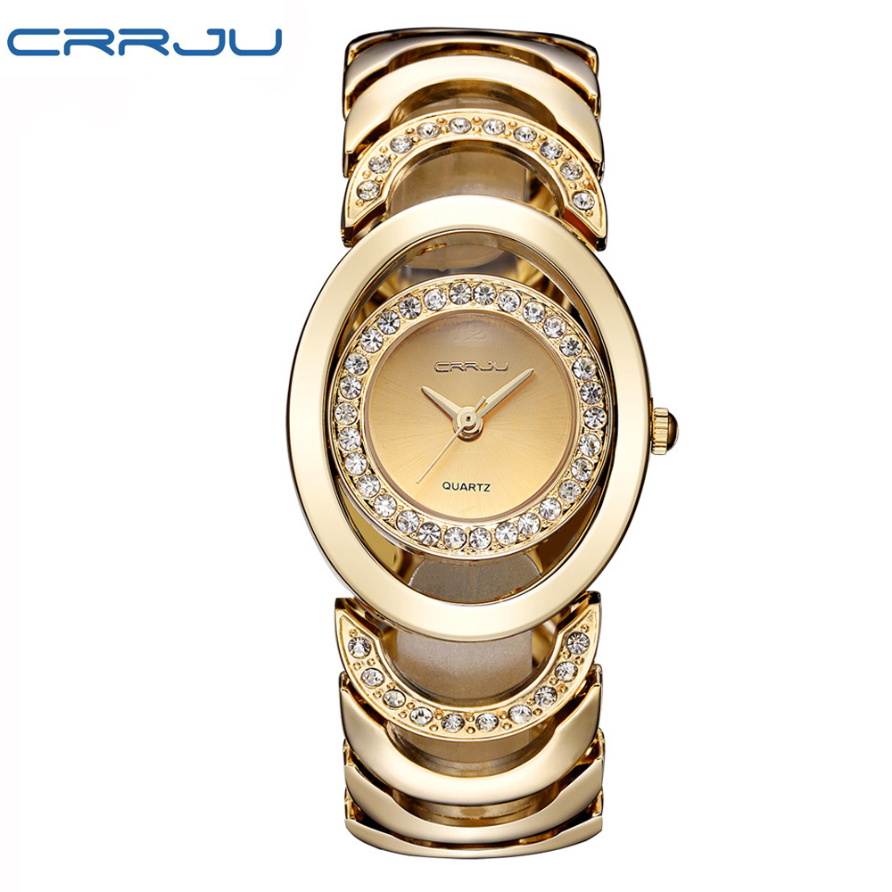купить Gold Watch Women Luxury Brand bracelet Ladies Quartz-Watch Gifts For Girl Full Stainless Steel Rhinestone wristwatches whatch по цене 883.29 рублей