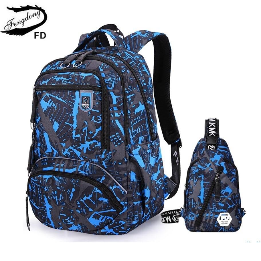 FengDong 2pcs/set men travel backpack kids school bag for boy notebook computer backpack laptop bag 15.6 sling chest bag gift