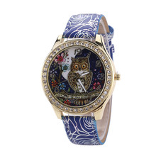 Fashion Women Watch 2018 Male And Female Universal Cartoon Owl Couple Models Diamond Quartz Watch Clock Women Relogio Feminino