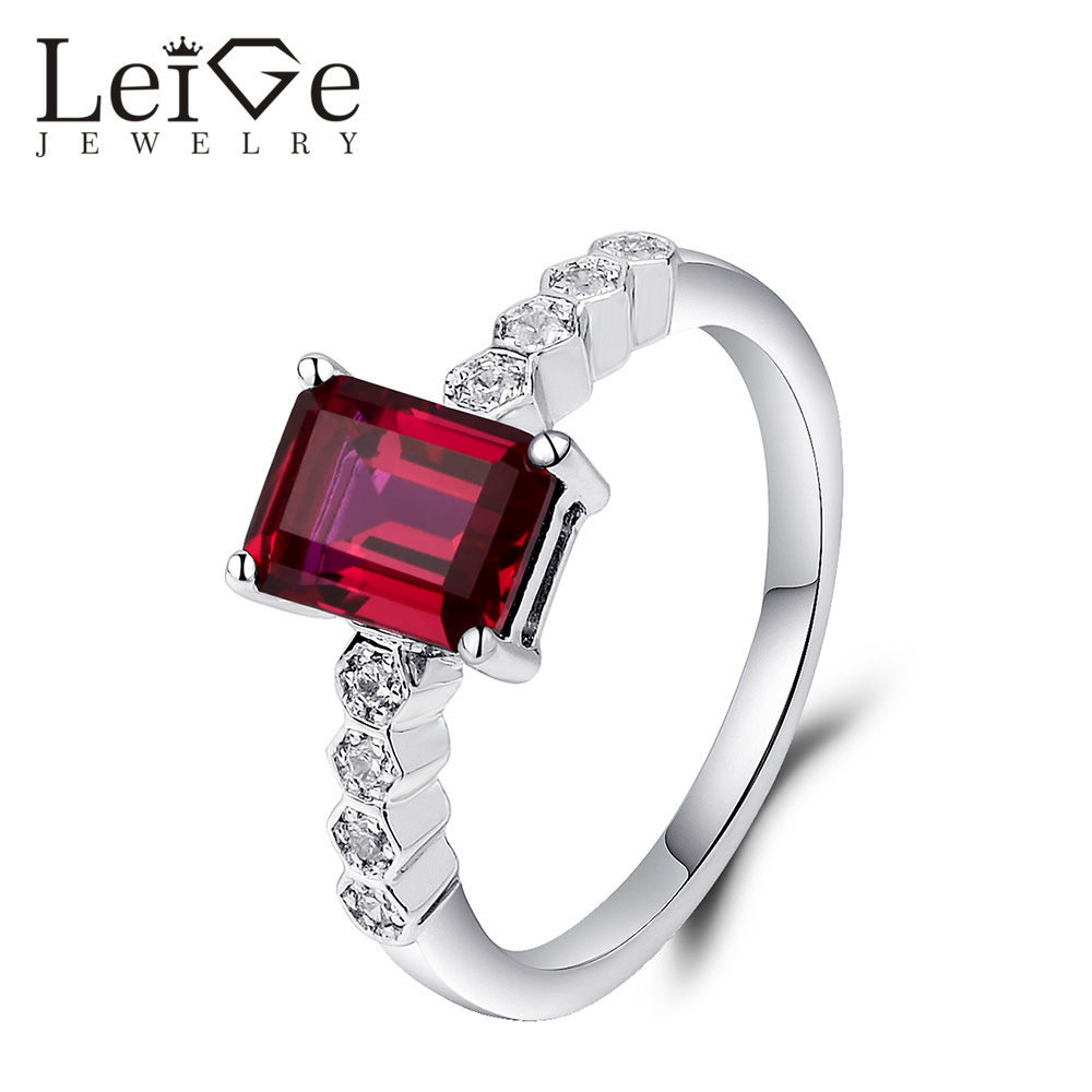 Leige Jewelry Red Ruby Engagement Ring Emerald Cut 925 Sterling Silver Fine Jewelry Promise Wedding Rings with Stones for Women men wedding band cz rings jewelry silver color anillos bague aneis ringen promise couple engagement rings for women