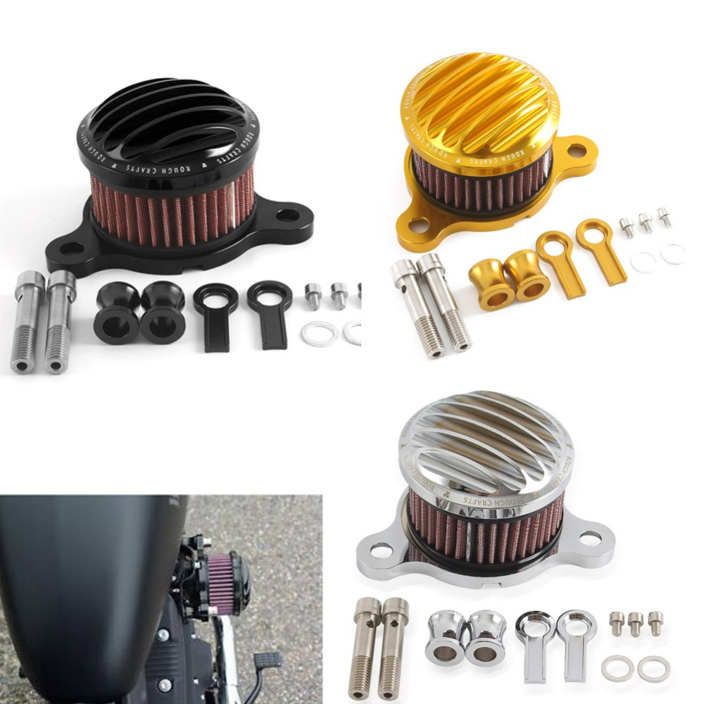 Rough Crafts Polished Air Cleaner Intake Filter Kit for 2004 2018 Harley Sportster XL 883 1200