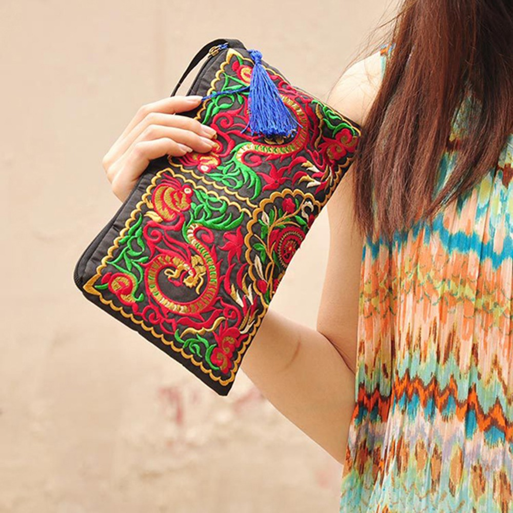 Women Retro Boho Ethnic Embroidered Wristlet Clutch Bag Handmade Purse Wallet Storage Bags China