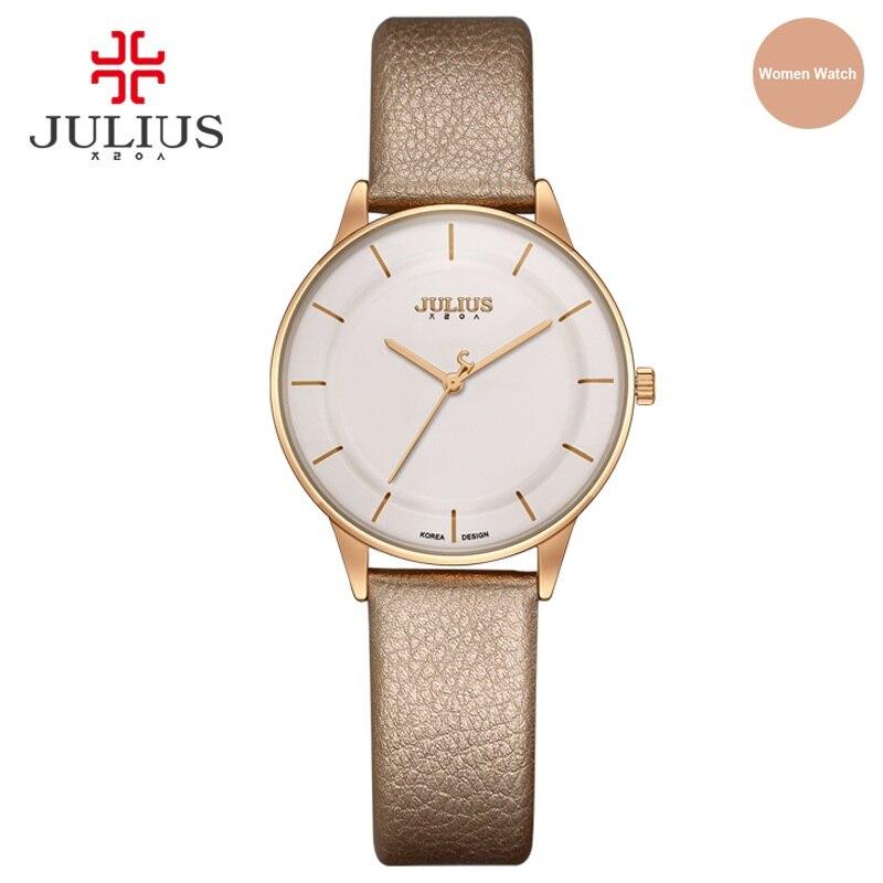 JULIUS Watch Golden Genuine Leather Quartz Retro Watch Women Elegant Black Silver Brief Vogue Simple Stylish Wristwatches JA-957
