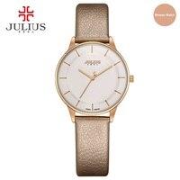 JULIUS Watch Golden Genuine Leather Quartz Retro Watch Women Elegant Black Silver Brief Vogue Simple Stylish Wristwatches JA 957