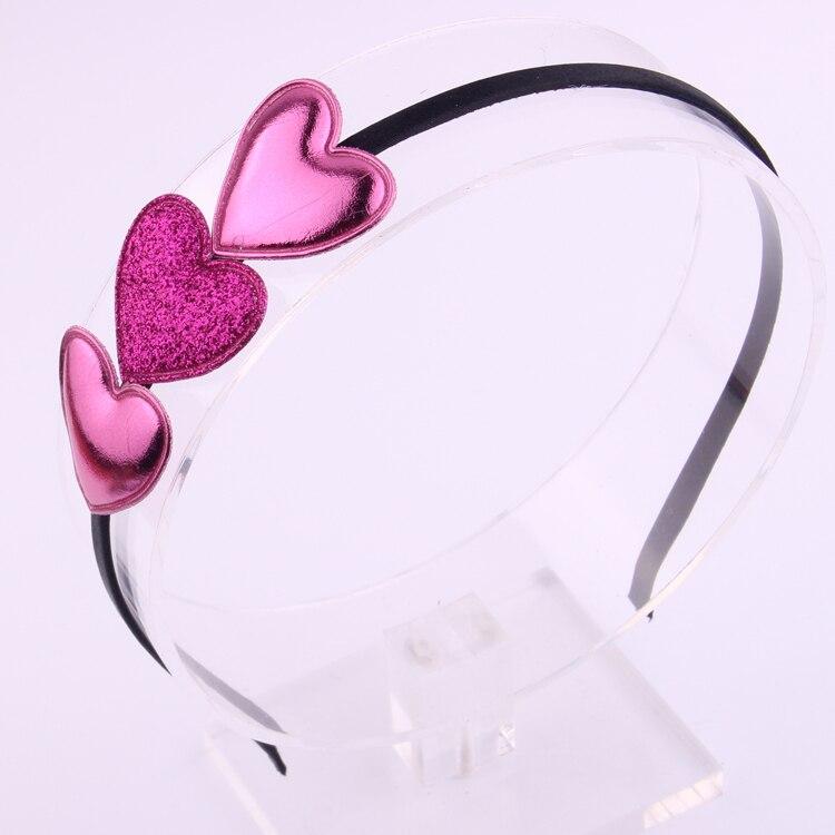 Fashion Hairbands For Girls PU Shining Powder Fabric Hearts Ornament Hair Hoop Cute Love Hair Bow   Headwear   Hair Accessories