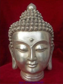Tibet Tibetan Buddhism White Copper Shakyamuni Buddha Head Bust Statue Figurine Garden Decoration 100% real Brass Bronze