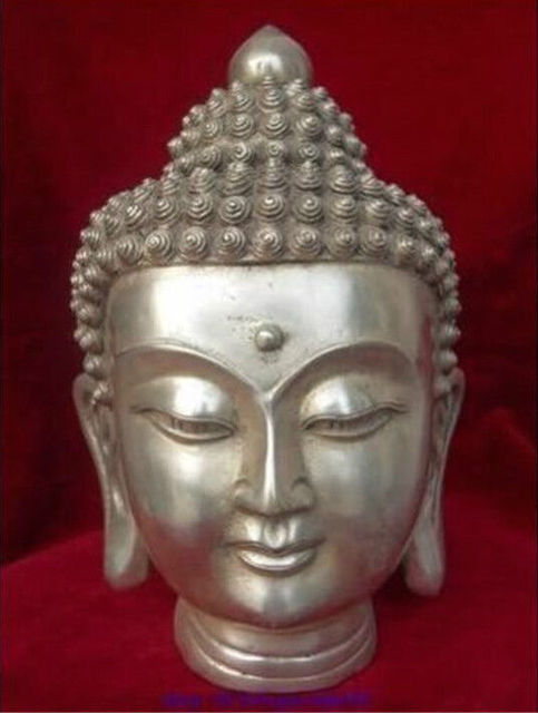 Tibet Tibetan Buddhism White Copper Shakyamuni Buddha Head Bust Statue  Figurine Garden Decoration 100% Real