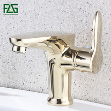 FLG Basin Faucets Brass Gold Color Faucet Tall Bathroom Bath Mixer Tap with Hot and Cold Sink