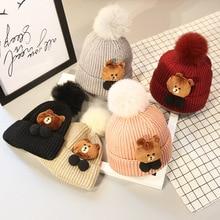 2017 New Baby Lovely Bear Wintern Warm Hat Boys and Girls Aged 1-4 Children's Knitted Hat Rabbit Ball Warm Winter Hat