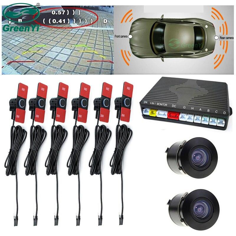 Greenyi видео Камера парковка Сенсор комплект, спереди и сзади Антирадары + 2 Камера S для заднего вида Мониторы dvd-плеер