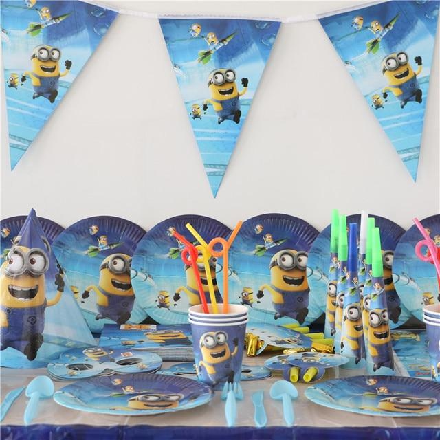 new 1pack 128pcs luxury kid birthday party decoration set minions