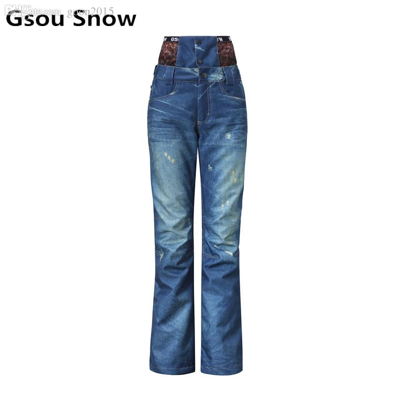 Gsou Snow Womens Ski Pants High Waist Denim Skiing Pants Female Snowboarding Pants Windproof Waterproof Minus 30 Degree