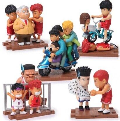 ФОТО 5pcs/set Slam Dunk Sakuragi Hanamichi Rukawa Kaede Action Figures PVC brinquedos Collection Figures toys for christmas gift