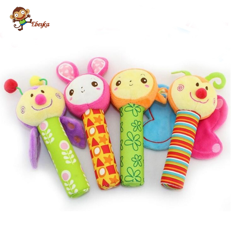 20cm Baby Rattle Toy Animal Figure Monkey Bunny Bee Butterfly Extrusion Can Make a Sound Baby Plush Toy Doll