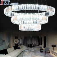М Роскошные 3 кольца гостиная K9 кристалл подвесной светильник светодиодный 74 Вт энергосберегающие лампы прозрачный цвет абажур для фойе от