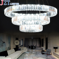 M Luxury 3 Rings Living Room K9 Crystal Pendant Light LED 74W Energy Saving Lamps Transparent Color Lamp Shade For Hotel Foyer