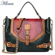 Klonca 2019 freeshipping fashion female handbag new designer rivet shoulder bag high quality PU leather crossbody bag hot sale недорого