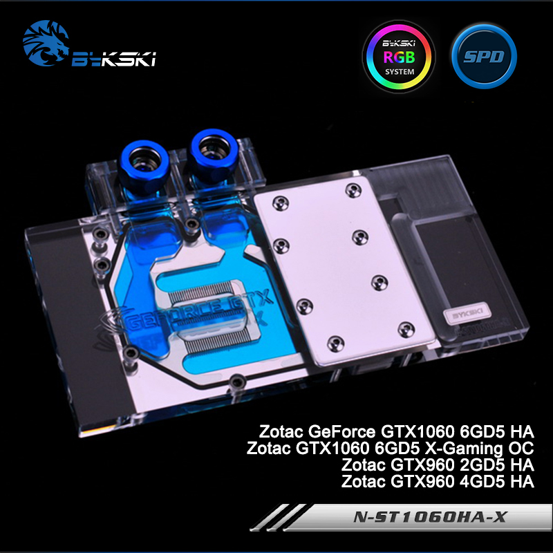 Bykski N-ST1060HA-X Full Cover Graphics Card Water Cooling Block for Zotac GeForce GTX1060 6GD5 HA,GTX1060 X-Gaming OC,GTX960 HA original for zotac mgt8012yb w20 turbo graphics card cooling fan diameter 7 3cm length 7cm 4wire