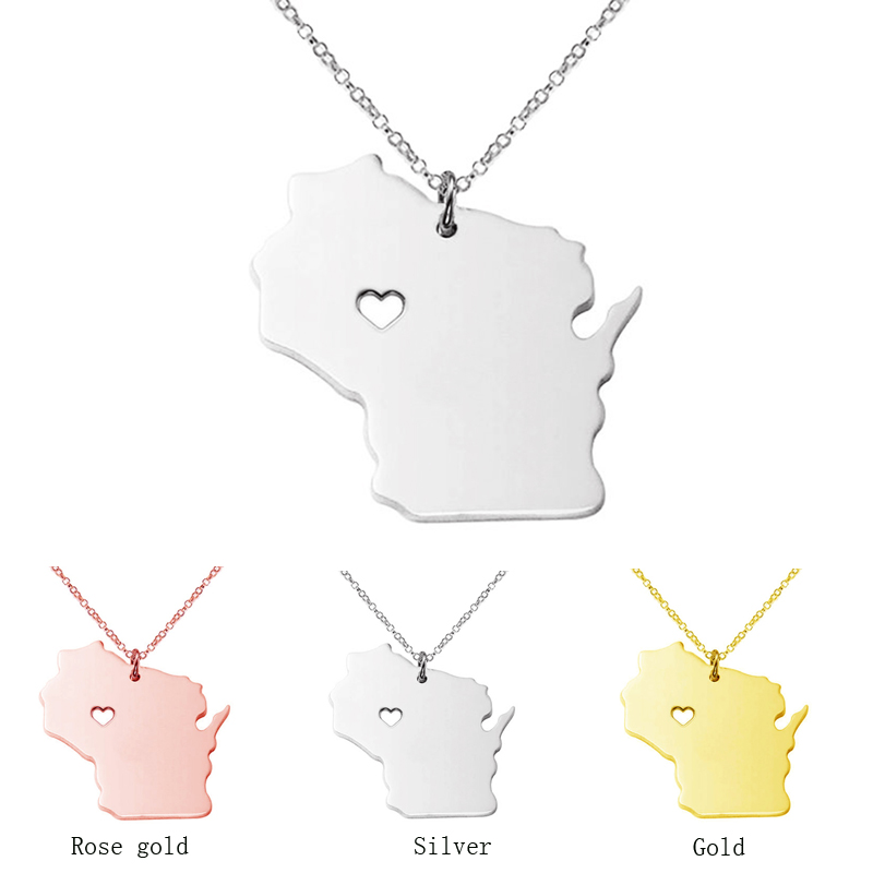 3color Wisconsin state map necklace Stainless Steel pendants S925 Silver map Pendant Necklaces bijouterie accessories jewelry43