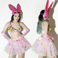Sexy Stage Ds Cartoon Cute Bar Pink Costumes New Nightclub Atmosphere Party Costumes for DJ Female Singer Jazz Dance Costumes