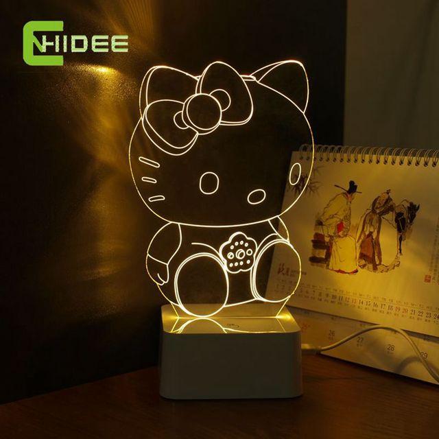 CNHidee Новый Дизайн Кристалл Лампе Новинка Арт Декор 3d Лампа для Luces де Hello Kitty Ночь Свет Декоративные Светодиодные Настольные лампы