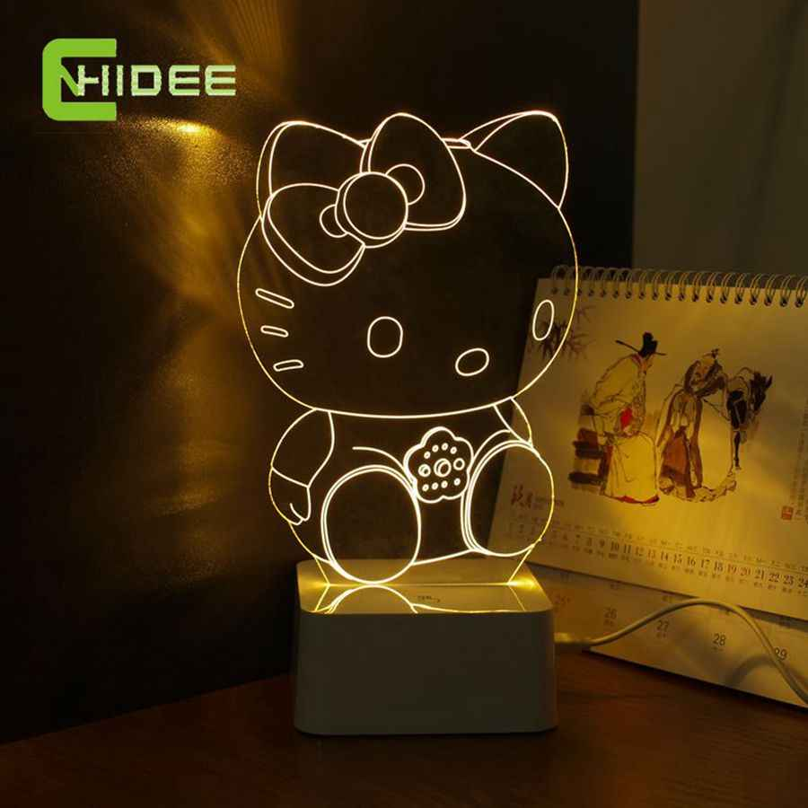 CNHidee New Design Crystal Lampe Novelty Art Decor 3d Lamp For Luces de  Hello Kitty Night Light Decorative Led Desk Lamp