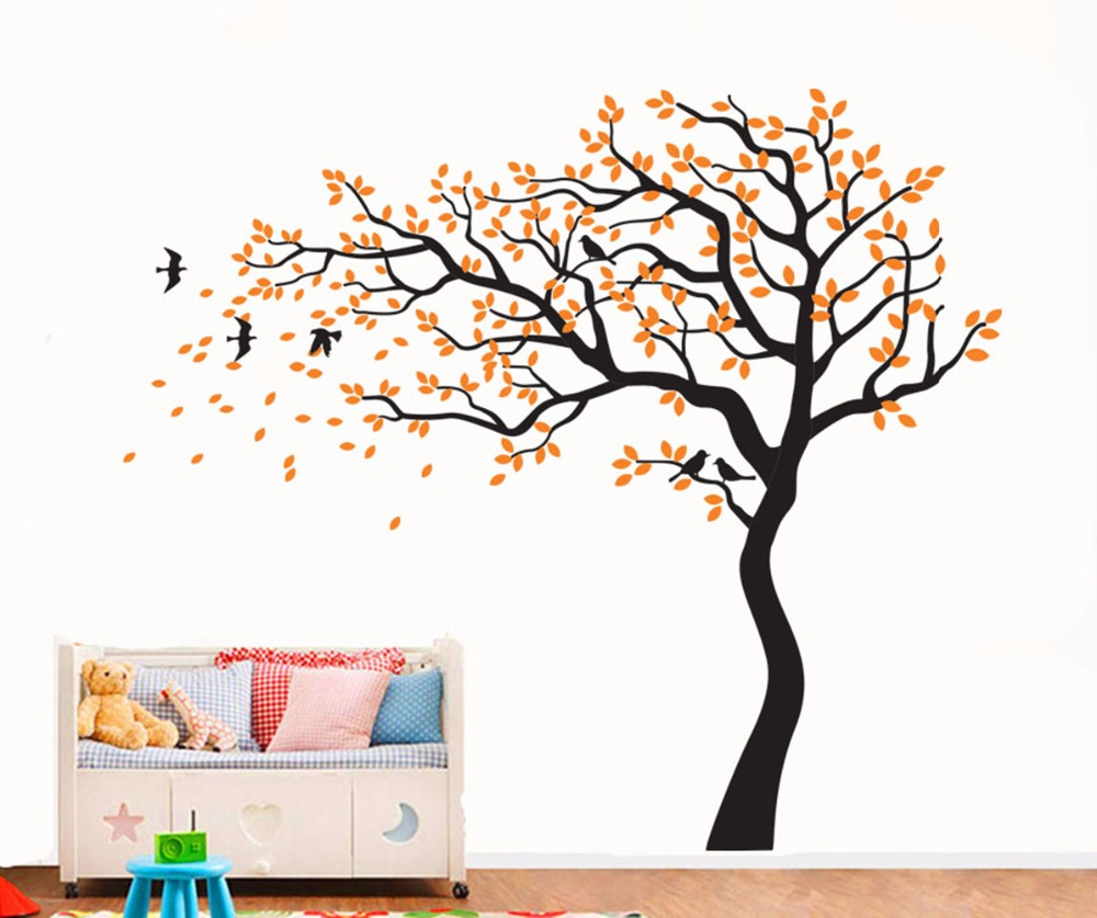 Yanqiao Beautiful Falling Flower Tree TV Background Stickers for Living Room Decoration Removable Vinyl Decal Art Home Decor