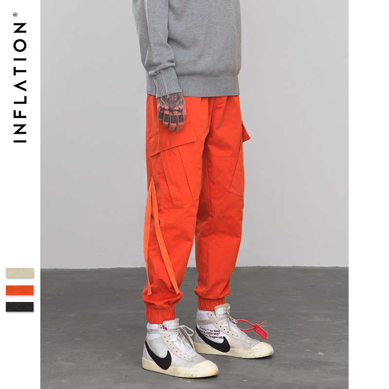 INFLATION Side Pockets Harem Pants Mens Hip Hop Patchwork Pockets Tapes Joggers Trousers Male Fashion Casual Pants 8871W