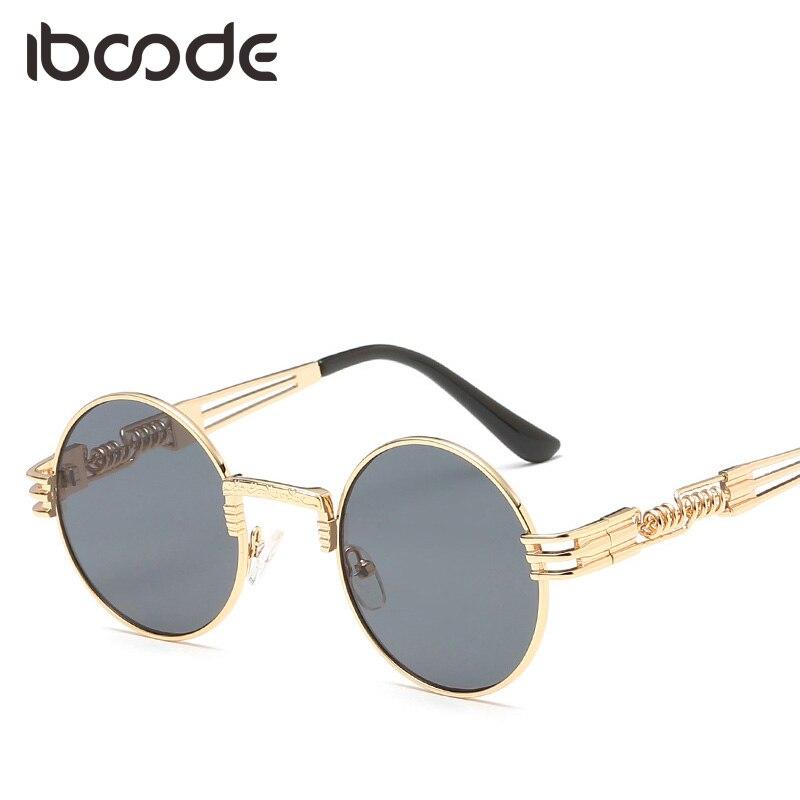 Iboode Vintage ronda gafas de sol gótico Metal Punk Retro hombres mujeres Steampunk gafas de sol verano accesorio lente transparente