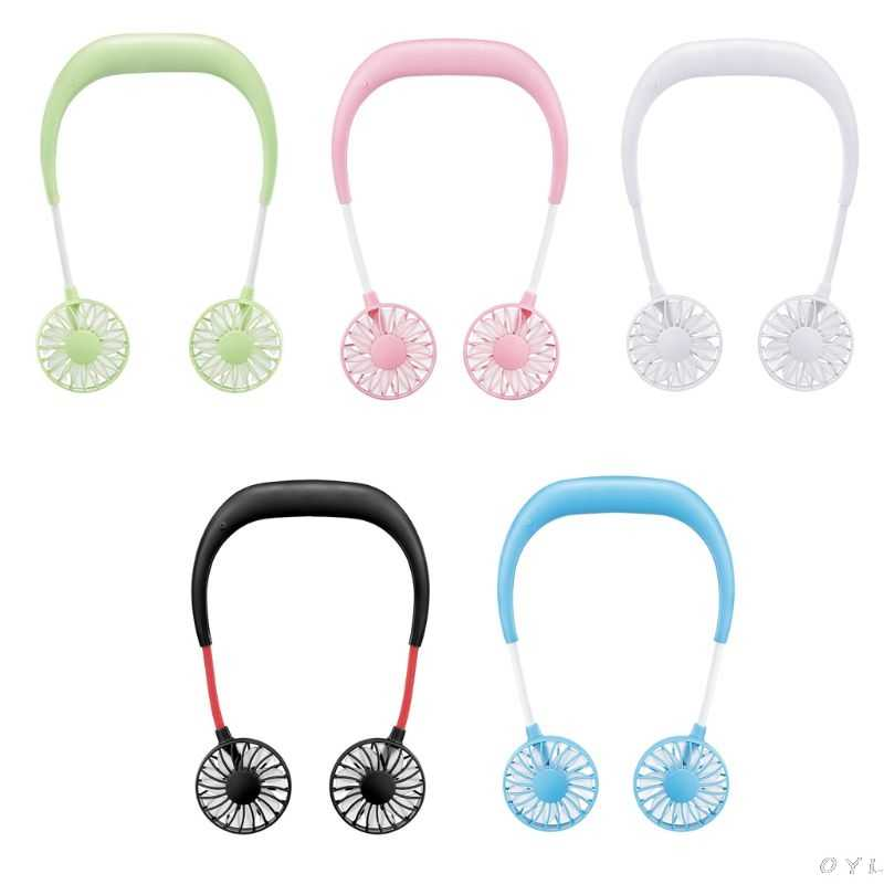 Portable Rechargeable Mini USB Fan Hands-free Neck Band Hanging Wearable USB Charging Sports Fan 3 gears Usb Air Conditioner
