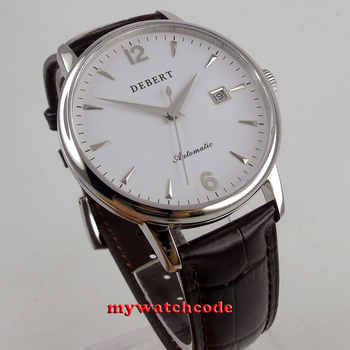polished 41mm Debert white dial sapphire glass miyota 8215 automatic men watch