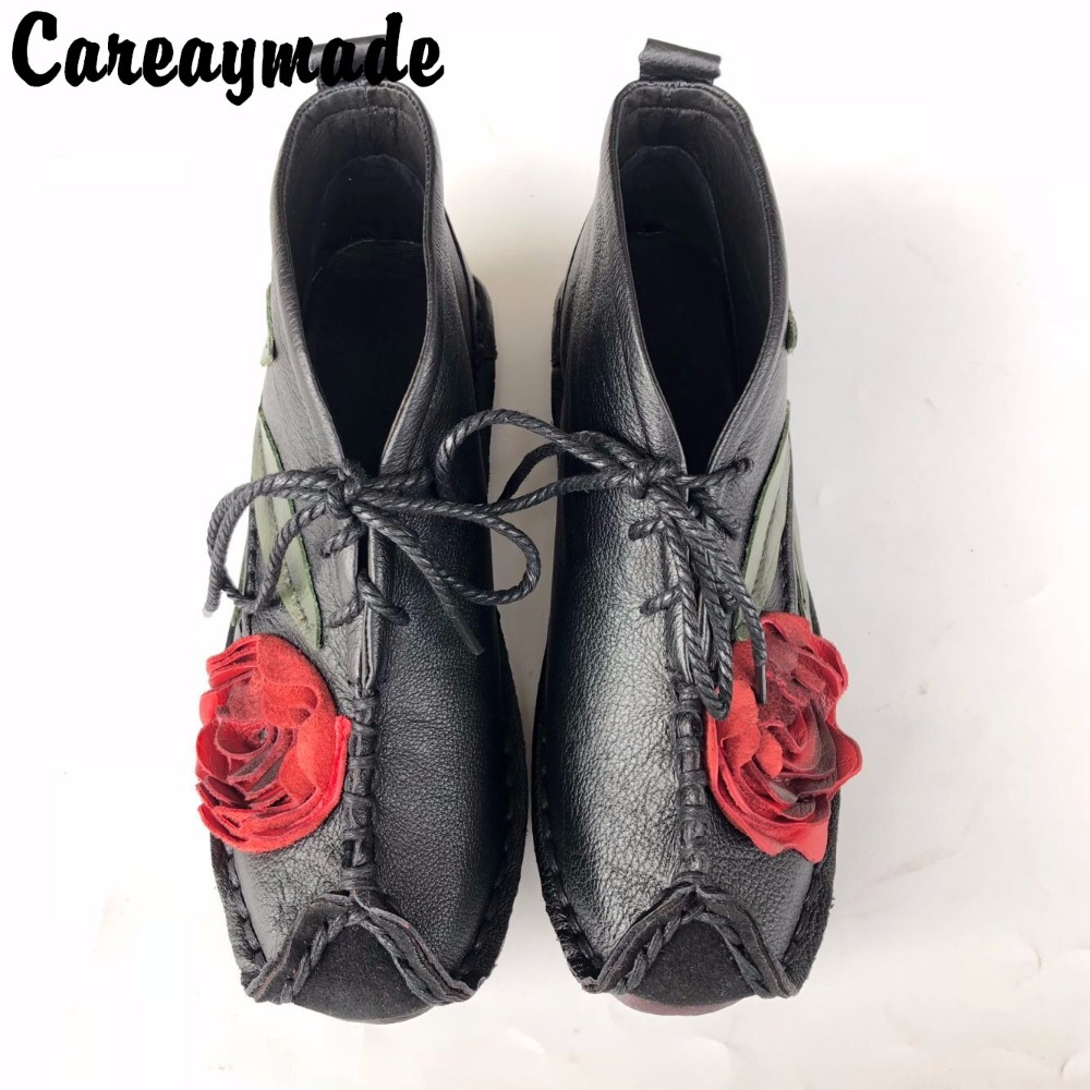 Careaymade-New Head layer cowhide pure handmade ankle half short boots ,Sen female casual Retro nation style women's Boots huifengazurrcs new pure handmade casual