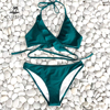 CUPSHE Green Solid Ruffled Halter Bikini Sets Women Sexy Thong Two Pieces Swimsuits 2020 Girl Beach Bathing Suits