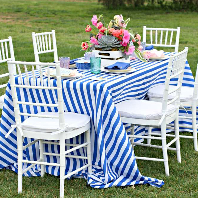 90 X 132 Blue Stripes Tablecloth For Wedding Party Decor Home