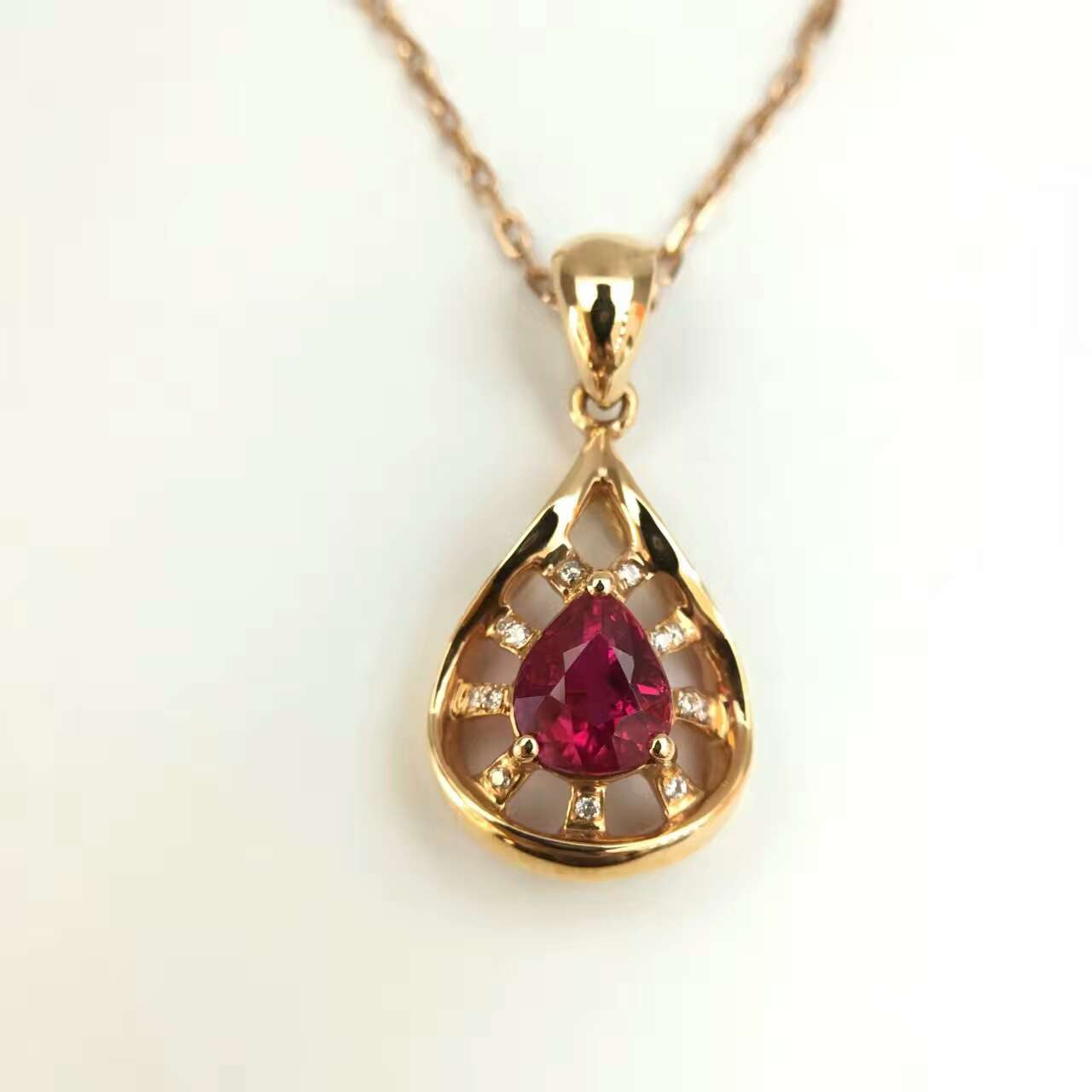 18K Gold Natural 0 992ct Ruby and Pendant font b Necklace b font 0 034ct font