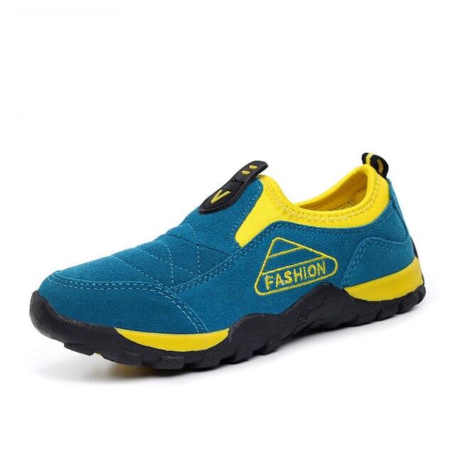 Autumn Winter Light Boys Shoes Kids Breathable Genuine Leather Big Flats Children Shoes Fashion Casual Boy Designer Sneakers