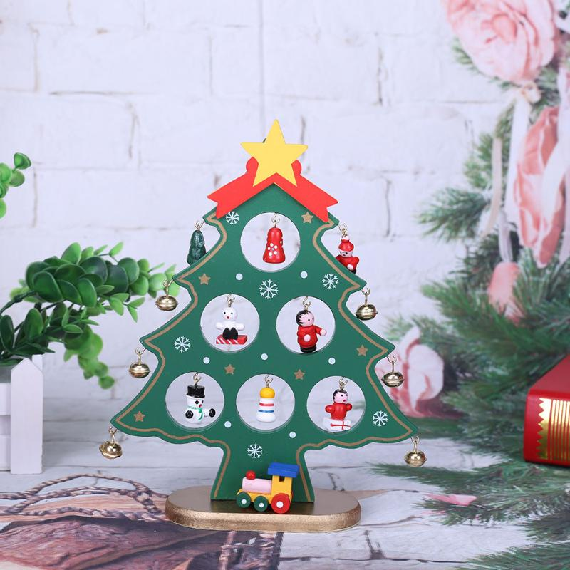 Christmas Tree Decorations For 2019: 2019 New Year 21cm Cartoon Wooden Merry Christmas Tree