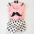 Костюм для девочек из двух предметов (короткая футболка + шорты), летняя повседневная одежда для детей, новинка 2015