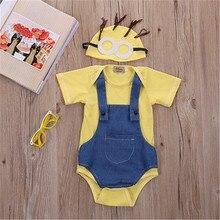 2016 Denim Fashion Newborn Baby Girl Boy Clothes Minions Bodysuit 0-24M