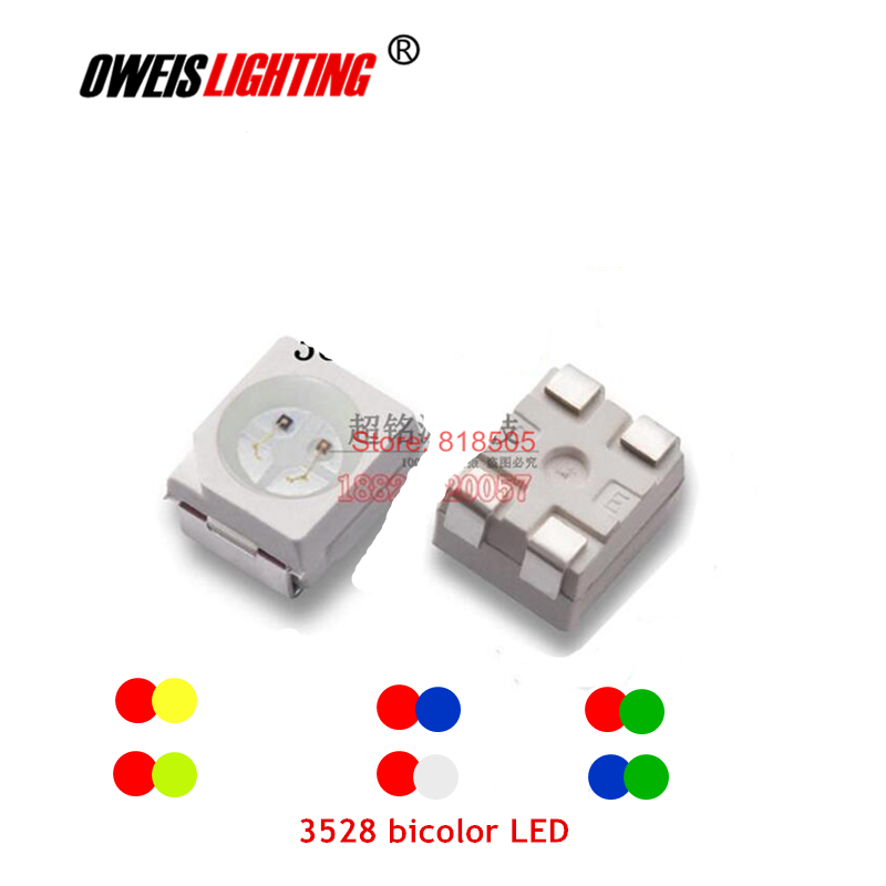 20PCS 3528 BICOLOR LED  RED+WHITE / R+ BLUE / R+GREEN / R+Yellow / B + G / R+YG (Same Polarity)