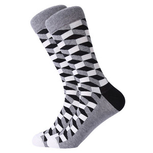 Image 5 - MYORED mens colorful casual dress socks combed cotton striped plaid geometric lattice pattern fashion design high quality
