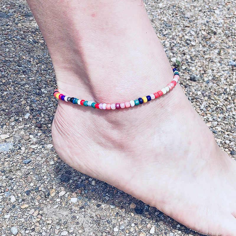 แฟชั่นที่มีสีสันลูกปัดสำหรับผู้หญิงสร้อยข้อมือขาชายหาดข้อเท้าห่วงโซ่เท้า